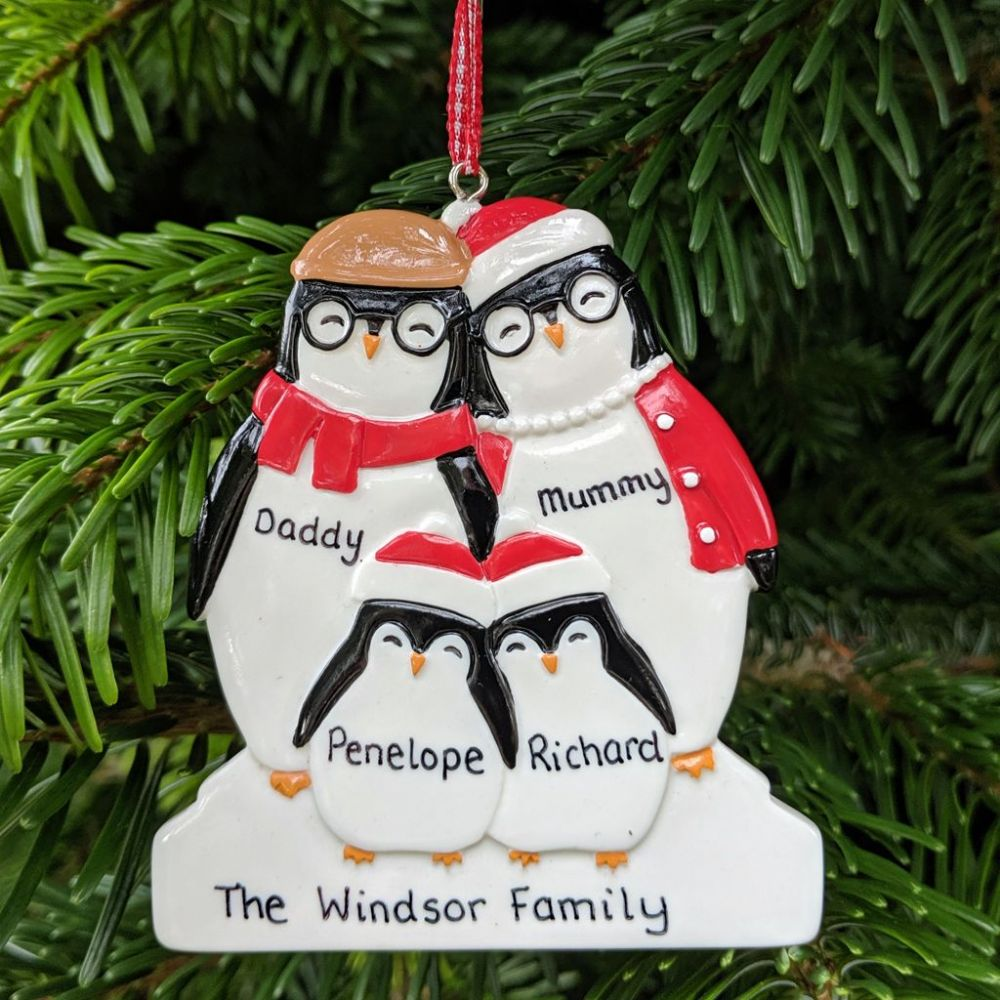 Personalised Penguin Family of 4 Dressed